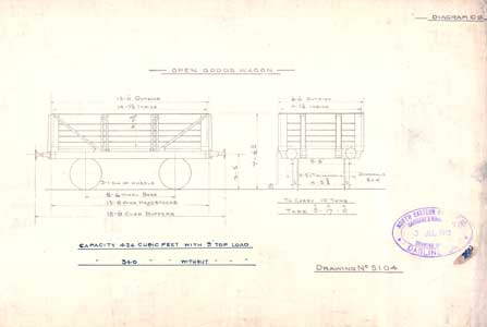 An Original 10 Ton Open Goods Wagon Stamped 1913 Drawing Office,  Darlington, North Eastern Railway Co  B/W Print Wagon Scale Drawing
